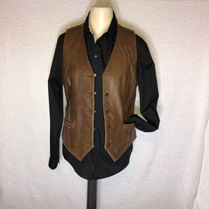 Genuine leather vest, brown. Size small.